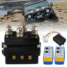 WATERWICH 12V 500A Winch Solenoid Relay Contactor+2pcs Wireless Winch Remote Control Kit with 6 Protecting Caps Universal for Truck Jeep ATV SUV 5500-12000lbs Winch 500A
