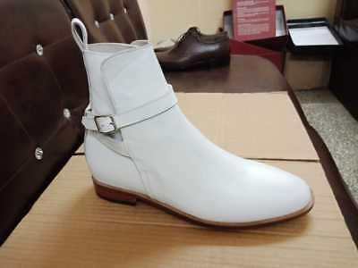 Handmade Men White Color Leather