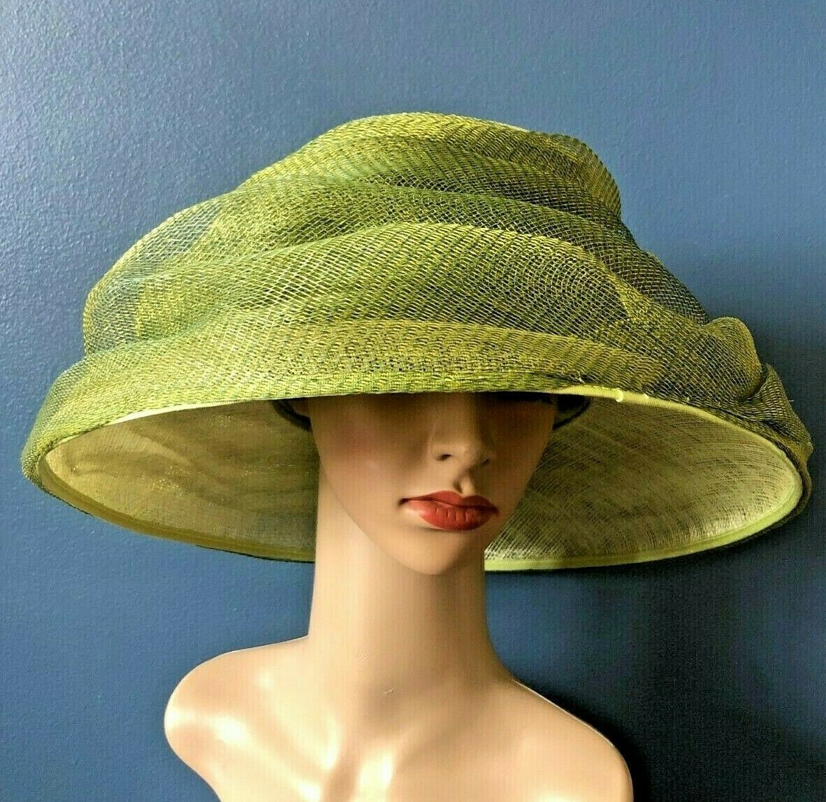 NEW Nigel Rayment Millinery Olive Green/Gold Mushroom Wedding Hat + Box