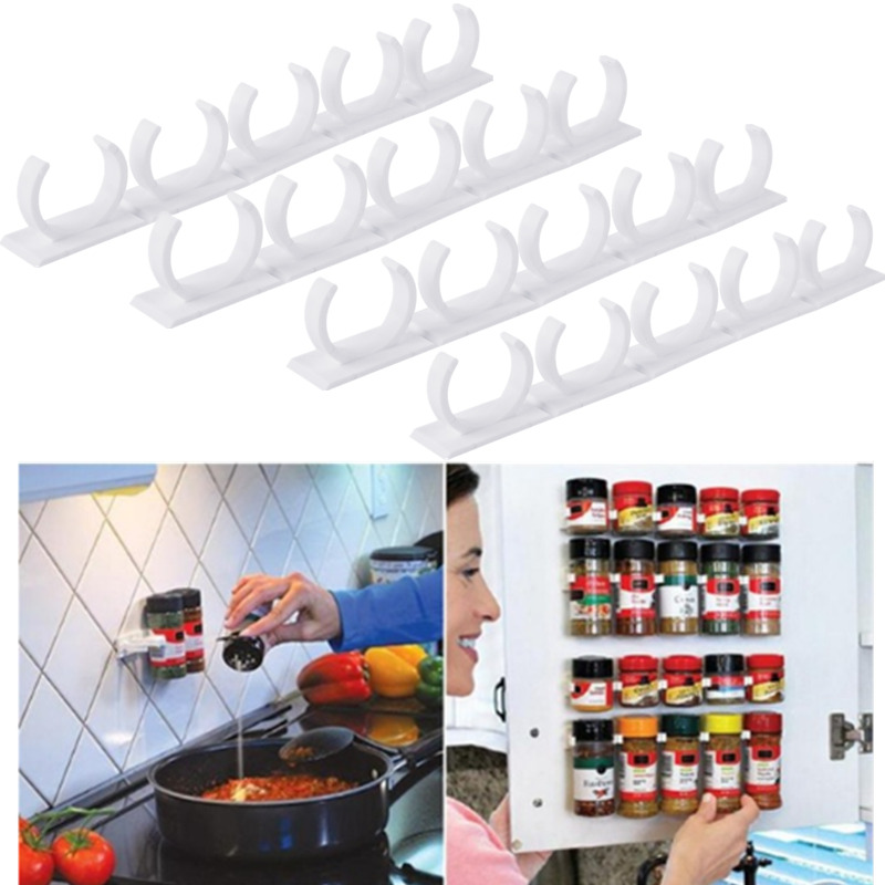20 Clips Herb Spice Jar Bottle Gripper Racks Wall Holder Home