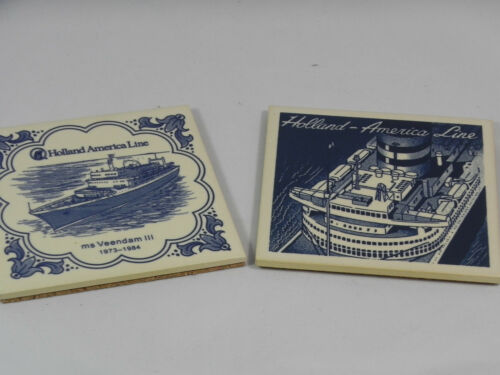 2 Holland America Cruise Ship Line & MS Veendam III Tile Drink Coasters