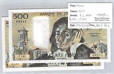 FRANCE - 2 BILLETS  500 FRANCS 4-6-1981 R141 T141 NEUF