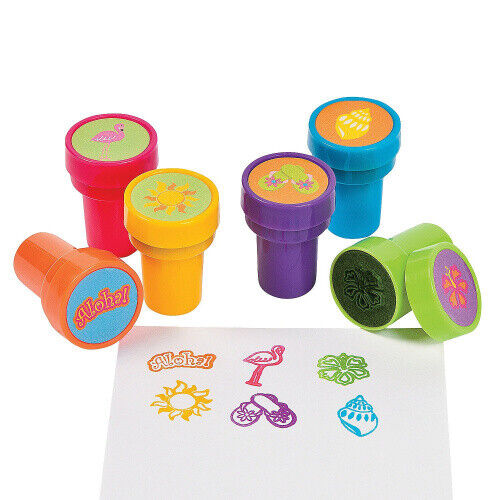 6x Stempel Aloha Hawaii Sommer Strand Kinderstempel Sommerparty Giveaway