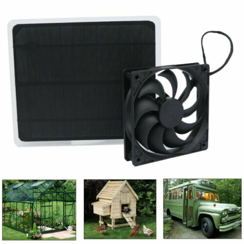 Black Fan Ventilator Greenhouse Solar Powered Panel Portable Treehouse