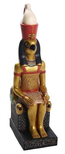 Horus Seated on Eye of Horus Falcon Throne Egyptian Statue 10H