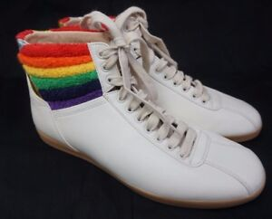 8b4d91339 Gucci Bambi White Rainbow Terry High Top Men's Sneakers Shoes Size 8 ...