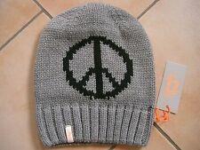 (M35) Grobstrick Mütze FREAKY HEADS Beanie Wintermütze Peace mit Logo Aufnäher
