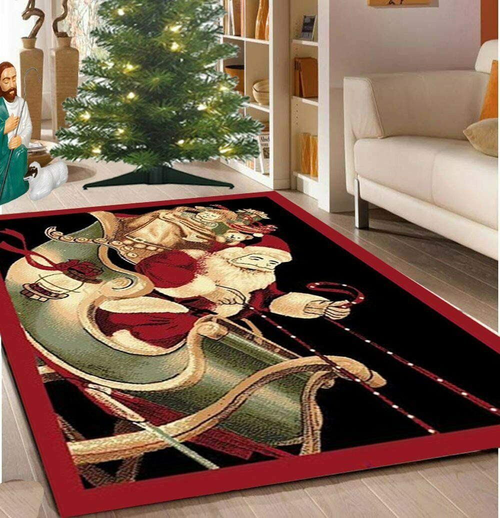Christmas Rug Holiday Décor Santa Claus Area 3ft4in X 4ft6in For Sale Online Ebay
