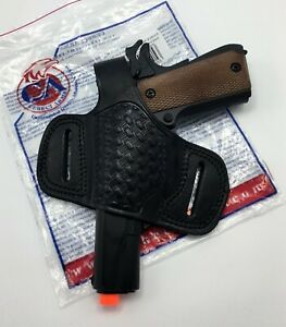 Details about Fits 1911 FULL SIZE, Cebeci Leather Half Pancake OWB  Basketweave Belt Holster LH