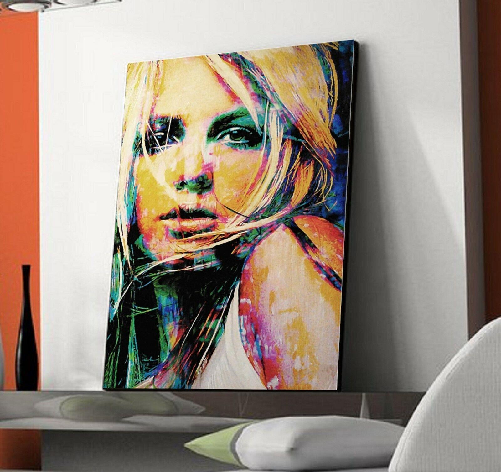 XXL LEINWAND BILD 120x80x5 -Britney Spears- ABSTRAKT MODERN POPART GEMÄLDE NEU