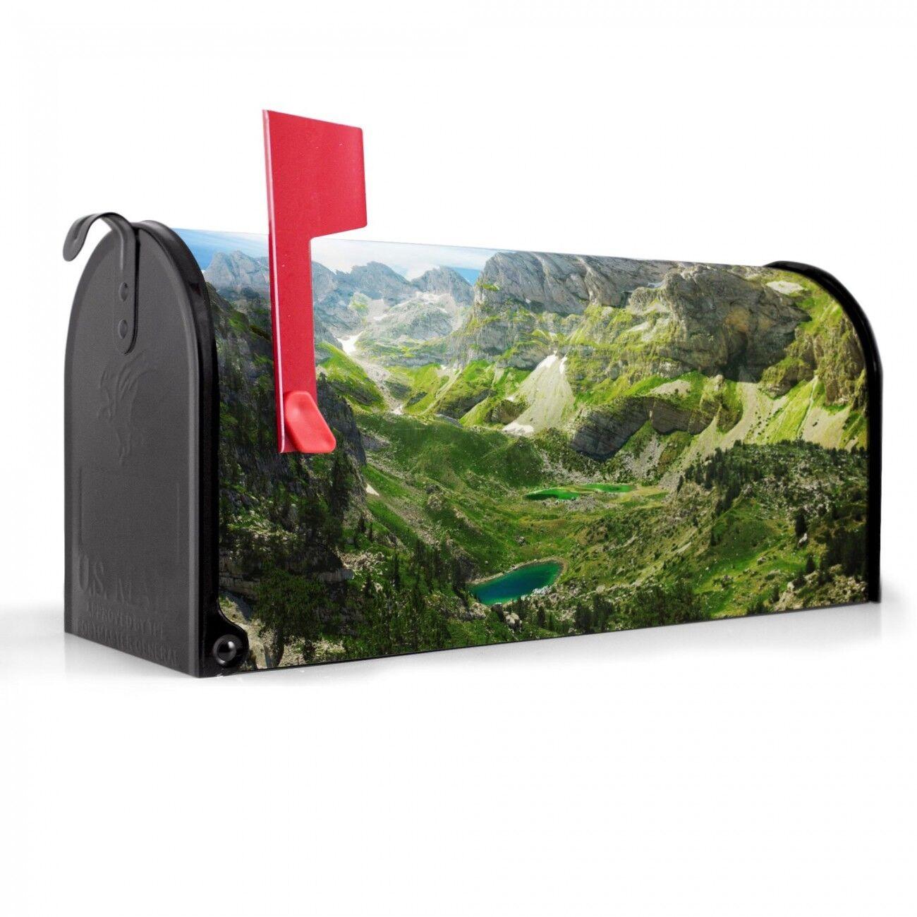 Banjado US Mailbox Amerikanischer Briefkasten Stahl schwarz Motiv Bergsee Alpen