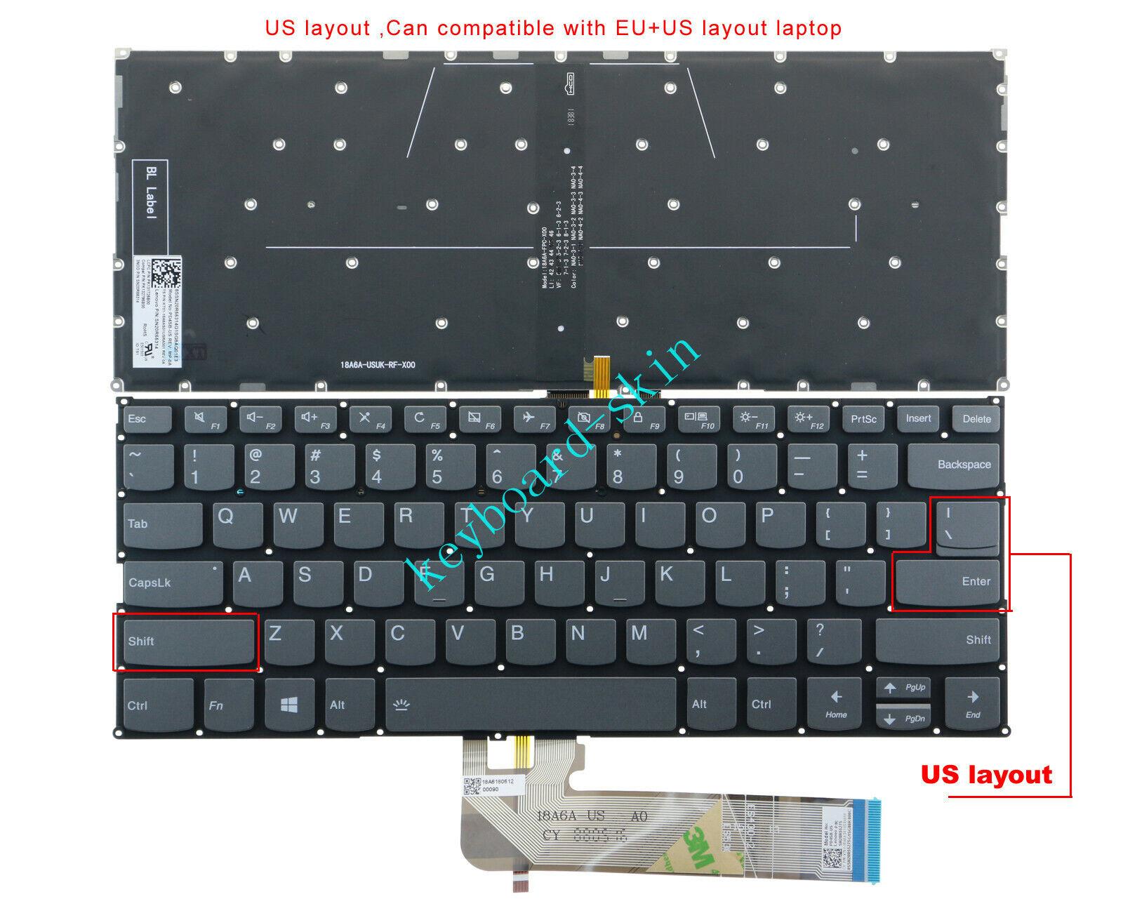 New for Lenovo Yoga C740-14 C740-14IML C340-14 14IWL Laptop Keyboard US Backlit