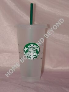 e2016ac983b Details about STARBUCKS Reusable Venti 24 OZ Frosted Ice Cold Drink Cup  With Lid & Straw