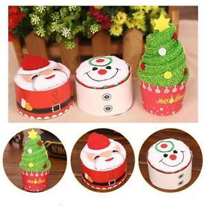 Christmas-Cupcake-Cotton-Towels-Santa-Claus-Snowman-Dishcloth-Xmas-Gifts-FM