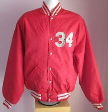 VTG Mens HOWE MORRISON FIRE CENTRE Red Nylon Baseball Jacket Size 24/27/21/16