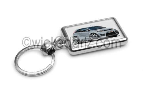 RetroArtz Cartoon Car Ford Fiesta MK6 Zetec S Silver Premium Metal Key Ring