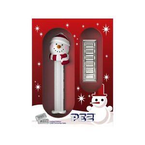 30 gram PAMP Suisse Snowman PEZ Dispenser & Silver Wafers (w/Box & COA)