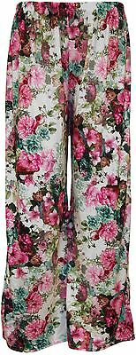 Womens Flared Wide Led Printed pants Plus Size Parallel palazzo Trousers 8-26