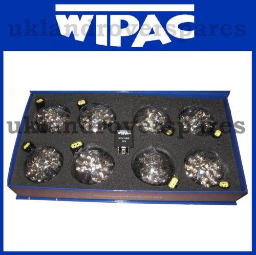 Land Rover Defender delanteras y traseras claro ahumado WIPAC Luz LED 73mm Kit de actualización