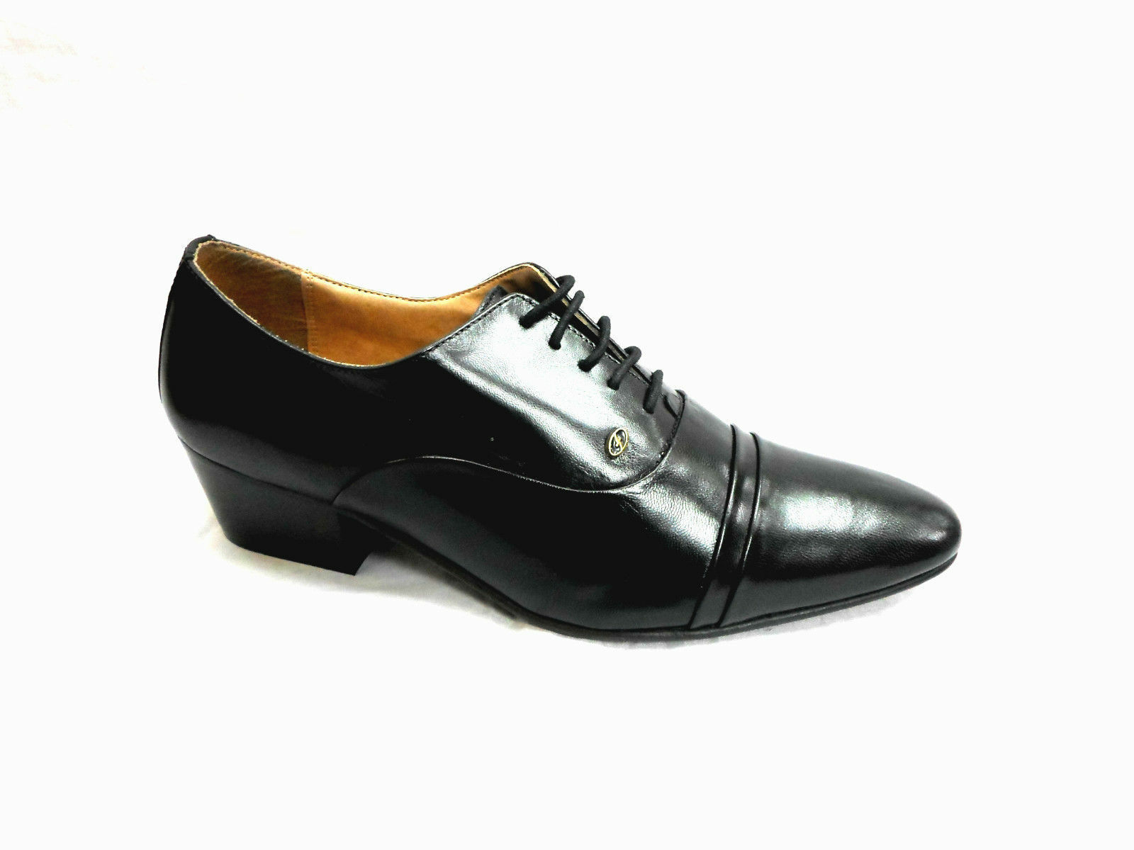 Lucini Formal Mens Cuban Heels Real Leather Lace Up Wedding Shoes Black Mat