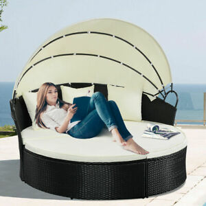 Costway Round Retractable Canopy Daybed Wicker Rattan Patio Sofa Furniture