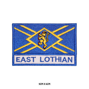 EAST-LOTHIAN-County-Flag-With-Name-Embroidered-Patch-Iron-on-Sew-On-Badge