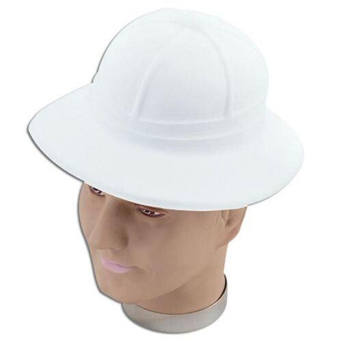 PITH HELMET JUNGLE HAT FANCY DRESS ACCESSORY SAFARI HELMET WHITE