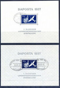 DANZIG-1937-DAPOSTA-Exhibition-airmail-block-in-both-shades-used