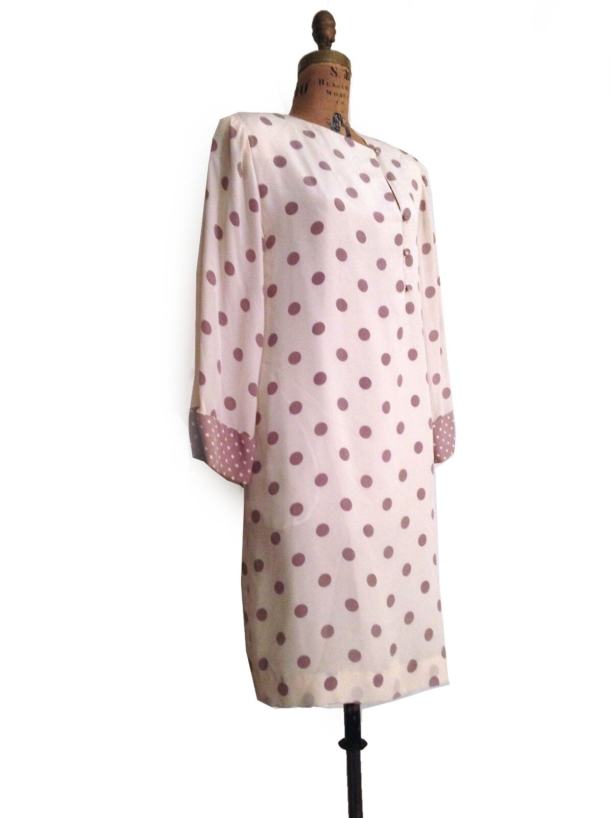 Vtg. Hanae Mori Silk Off White Polkadot Long Sleeve Midi Dress-M