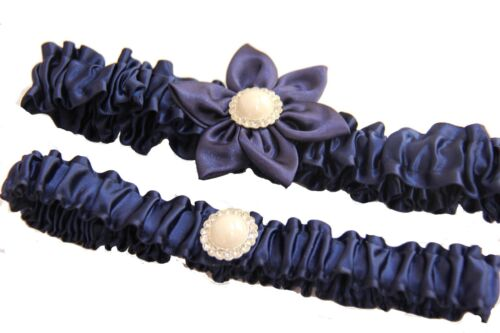 Royal Blue Wedding Prom Garter Set w// Flowers Pearl Rhinestone Fits Most Sizes
