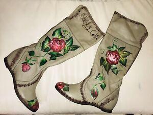Boots-STIEFEL-41-unikat-designer-overknee-Echt-Leder-Blumen-Flower-Shabby-Chic