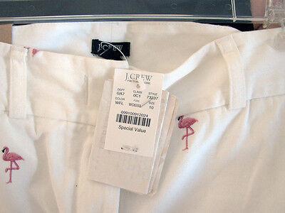 J. Crew Pink Flamingo Embroidered on White Capri Pants Favorite Fit NWT's sz 10