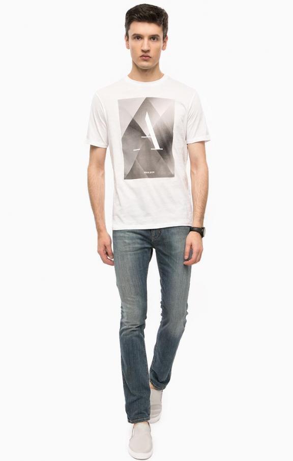 Armani Jeans Mens Logo Print Weiß T-shirt All Größes BNWT