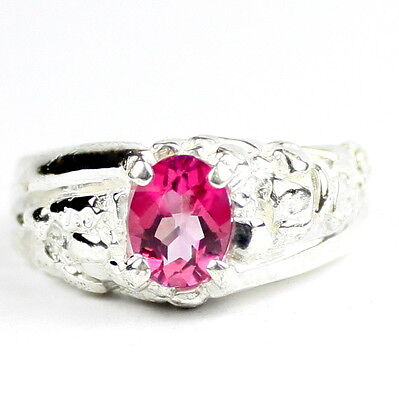 SR368 925 Sterling Silver Men/'s Ring Created Pink Sapphire