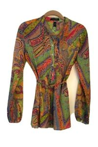 New-Ralph-Lauren-Womens-Tunic-Top-Medium-Pink-Green-Blue-Paisley-Pleated-Cotton