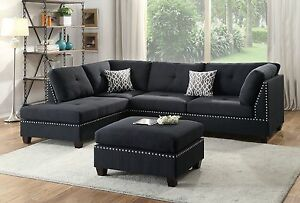 Details about Living Room 3pc Sectional Sofa Chaise Ottoman Cushions Black  Polyfiber Furniture
