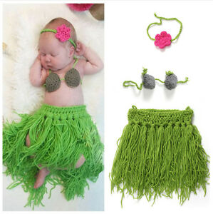 Crochet Knit Baby Girls Headband Coconut Bra Top Hawaiian Grass ... 72222cd7725