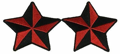 Set Of 2 Red Black Nautical Star Patches Rockabilly Retro Pinup