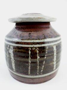 Vintage-Lidded-Studio-Pottery-Jar-Urn-6-5-034-X-6-25-034-Black-Brown