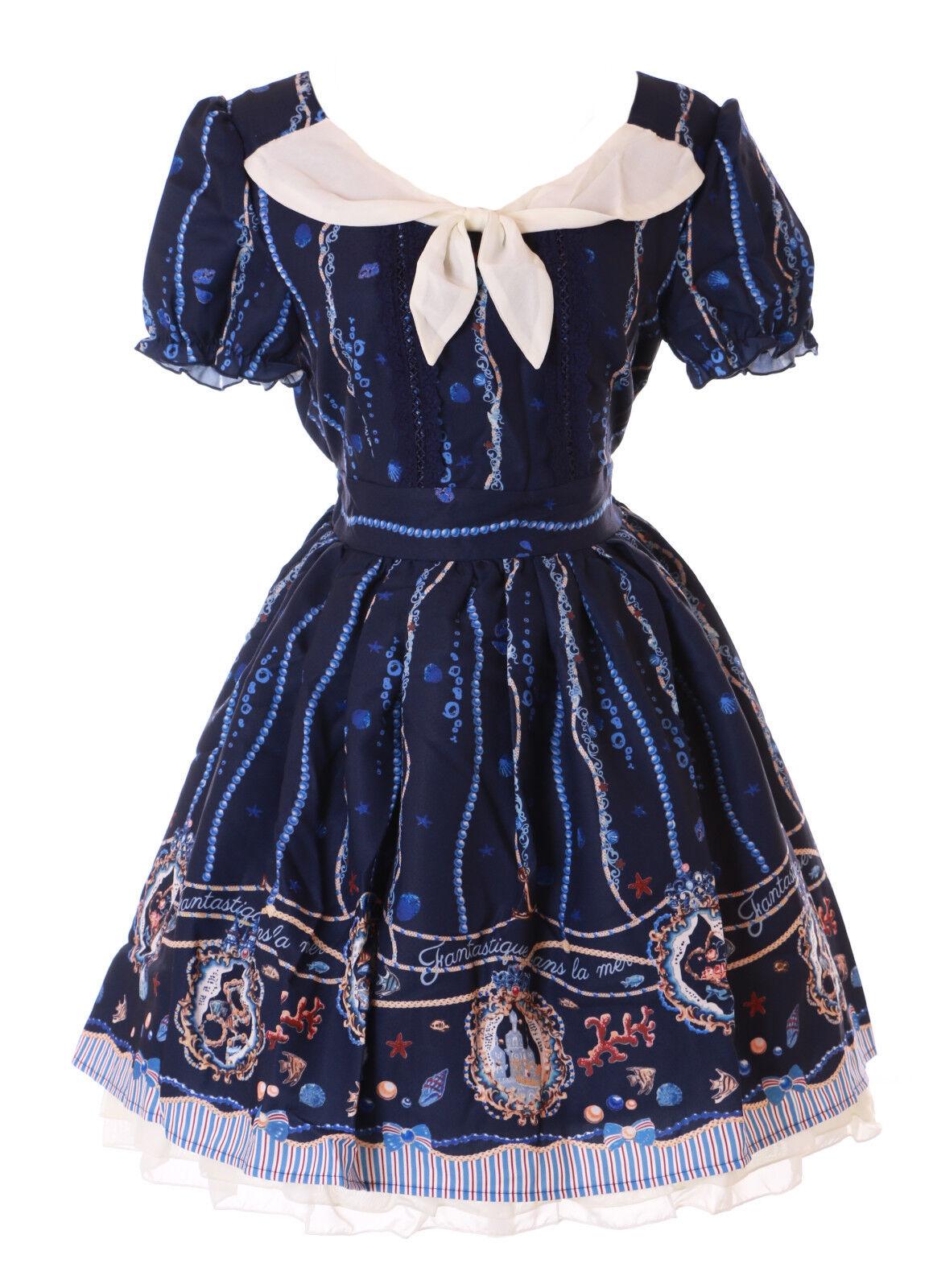 JSK-29-2 Dunkel-Blau Ocean Schatz Muschel Vintage Gothic Lolita Kurzarm Kleid