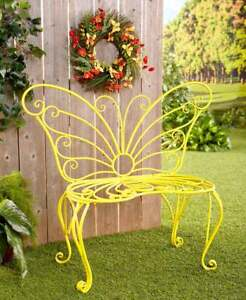 Yellow Butterfly Metal Garden Bench Outdoor Seat Patio
