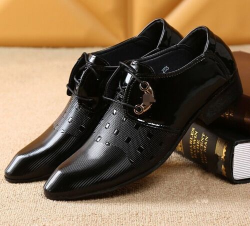 Wedding Mens Lace UP Formal Pointy Toe Dress Block Heel Leather Formal Shoes Hot