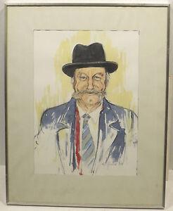 """"""" Homme Avec Chapeau - Homme Portrait """" Aqua. Signer Dat. M.tristel 91 In Cadre"""