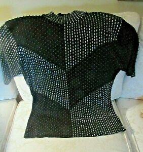 Stunning-BLACK-DRESSY-BEADED-TOP-gt-Full-Front-all-Beaded-Design-gt-Orig-Label