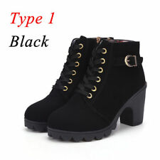 8b49c066f93 item 8 Womens Chunky Boots Lace Up Mid Block Heel Ankle Boots Suede Leather  Shoes Size -Womens Chunky Boots Lace Up Mid Block Heel Ankle Boots Suede  Leather ...