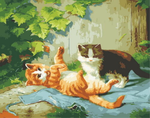 Oil Painting By Number Kit Wall On Canvas DIY Acrylic Paint  Animals Tiger Cats