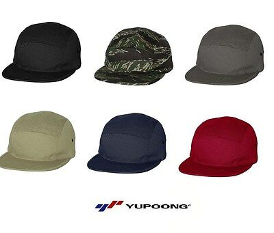 NEW Yupoong Jockey Flat Bill Cap 100% cotton 5 panel Jockey style Mens Hat 7005