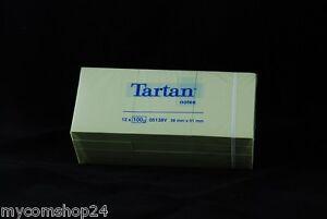 12-x-Tartan-Notes-Haftnotizen-Hellgelb-05138V-12x-100-Blatt-38mmx51mm-NEU-OVP