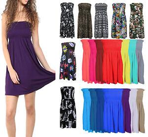 Women-Strapless-Elasticated-Boobtube-Sheering-Shirred-Bandeau-Swing-Dress-Top