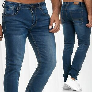 Pantalon-en-jean-pour-hommes-Slim-Bas-laves-a-la-taille-normale-classique-laves